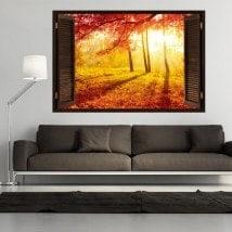Albero 3D finestra rossa foglie d'autunno