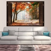 Finestra di autunno strada alberi 3D