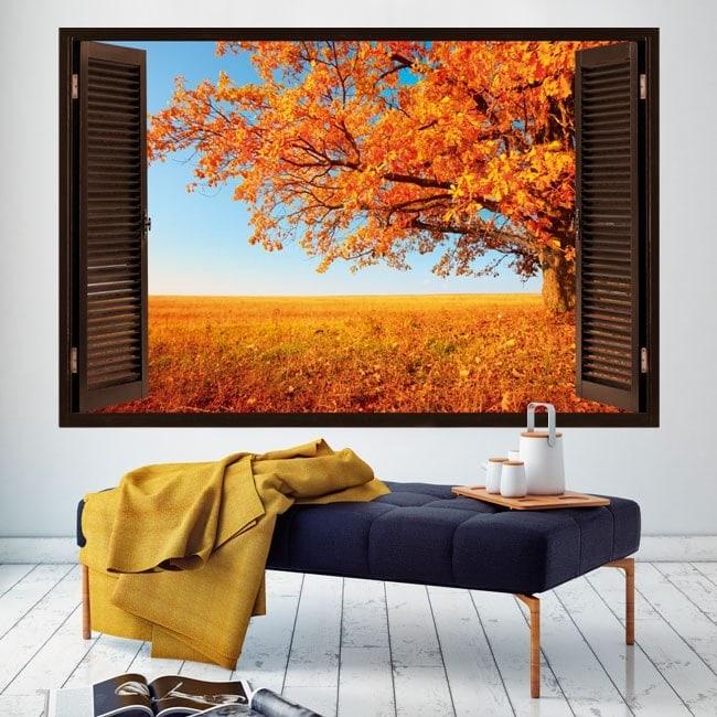 Autunno di finestra dellalbero 3D Italian 5440