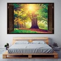 Albero 3D nella finestra foresta