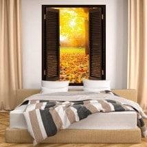 In autunno gli alberi 3D finestra