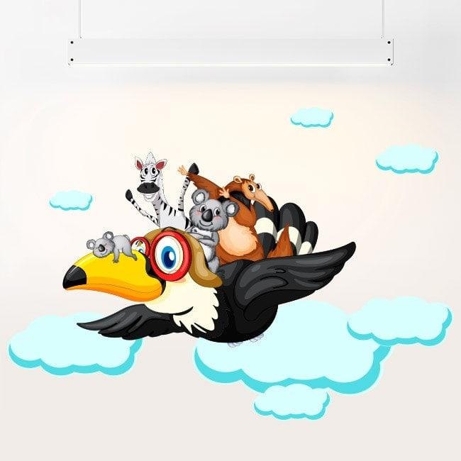 In vinile per bambini animali tra le nuvole