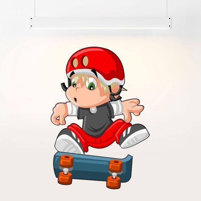 Bambini bambino di vinile e skateboard