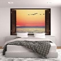 Windows nel tramonto 3D vinile in mare