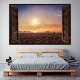 Windows in vinyl tramonto 3D sulla spiaggia
