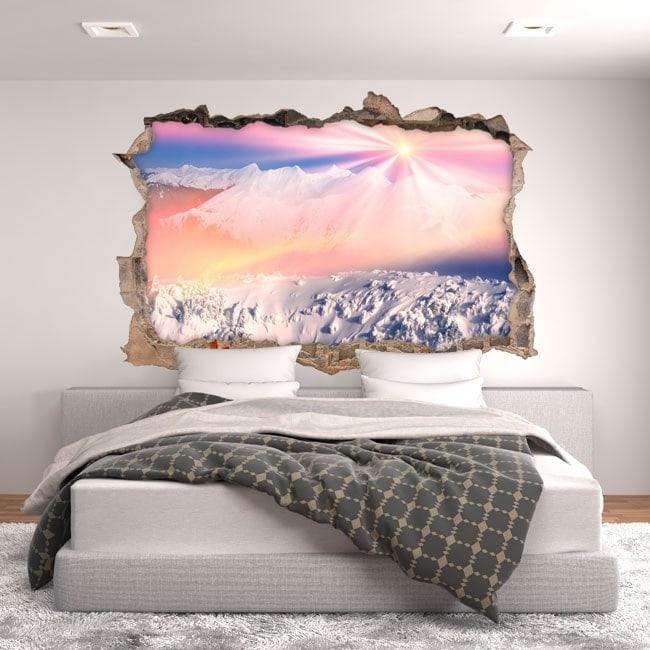Montagne ricoperte di neve e sole 3D vinile
