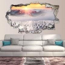 Montagne ricoperte neve tramonto 3D vinile Italian 5659