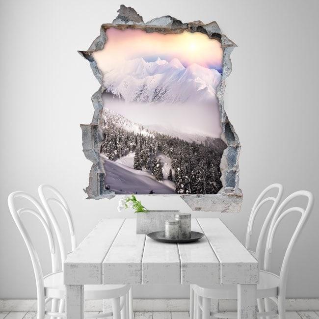 Vinile 3D montagne neve tramonto