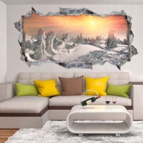 Vinyl tramonto 3D tra le montagne innevate