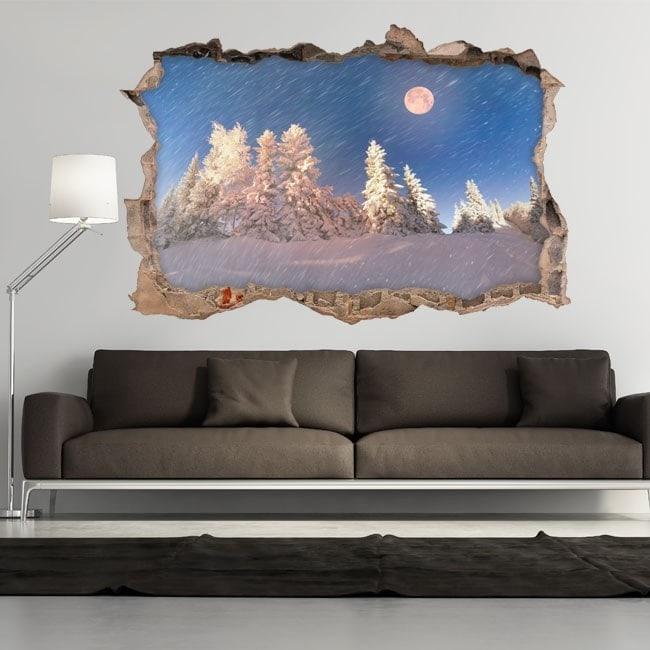 Montagne di inverno nevoso Moon 3D vinile