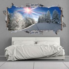 Raggi di sole di vinile 3D montagne nevose