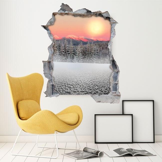 Montagne innevate 3D di vinile sole tramonto