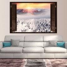 Montagne ricoperte neve tramonto di Windows vinile