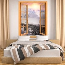 Windows 3D montagne neve tramonto
