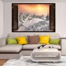 Tramonto 3D del vinile di Windows tra le montagne innevate