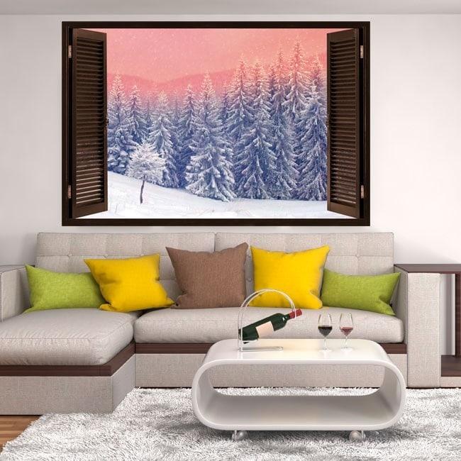 Windows vinile 3D neve in montagna