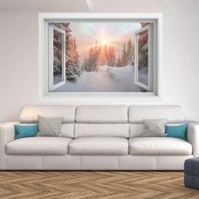 Montagne di raggi di sole 3D nevoso di Windows