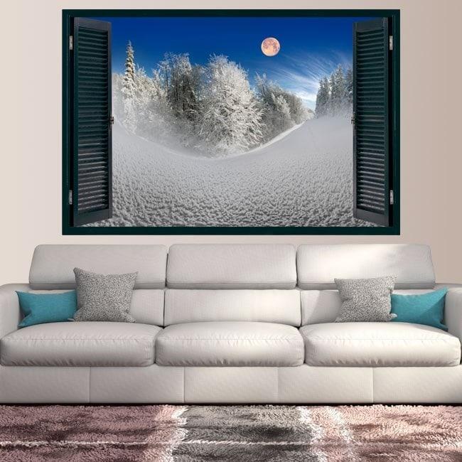 Vinile Windows Moon tra le montagne innevate
