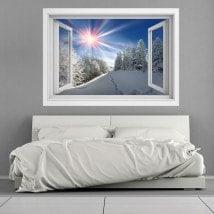 Raggi di sole di Windows vinile 3D montagne nevose