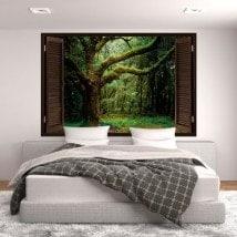 Windows in natura gli alberi 3D in vinile