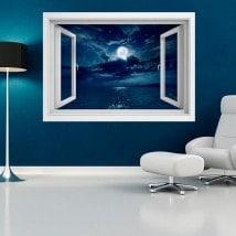 Luna 3D di windows di vinile sopra il mare