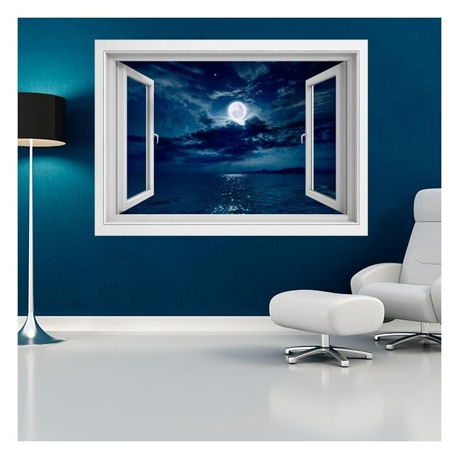 Luna 3D di windows di vinile sopra il mare