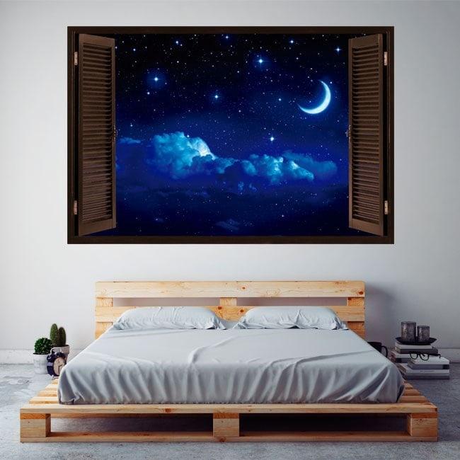 Finestre in vinile 3D luna e stelle