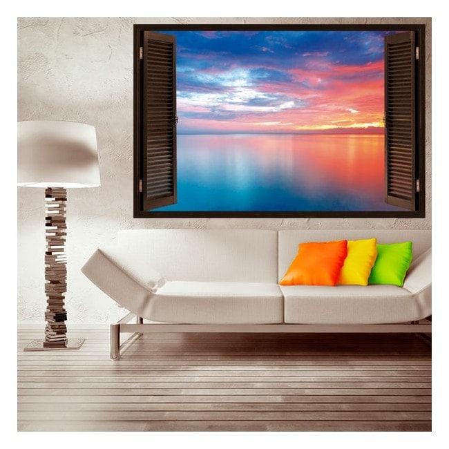 Nuvole di 3D windows vinile nel mare