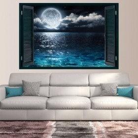 Finestre in vinile 3D luna e mare