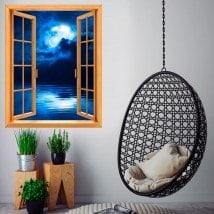Windows 3D luna piena sopra il mare