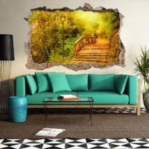 Autunno alberi 3D ponte di vinile
