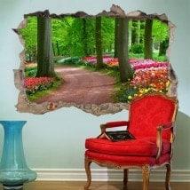 Percorso 3D vinile tra alberi e fiori