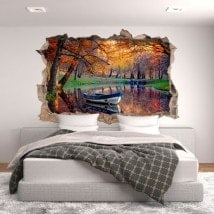 Barca di vinile foro muro sul lago