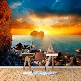 Tramonto di murales muro foto sul mare