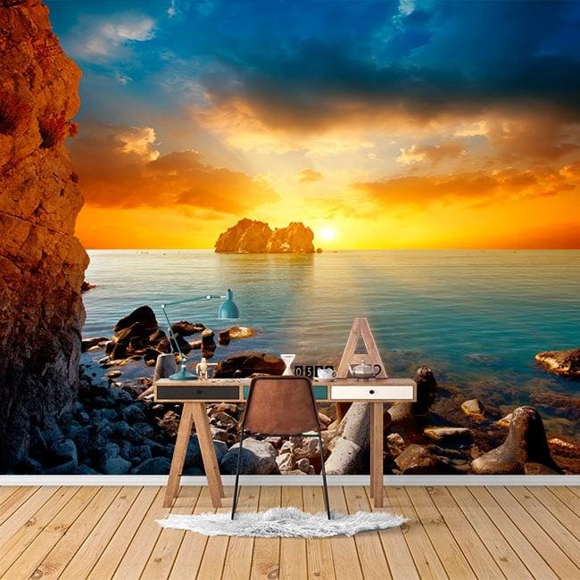 Tramonto di parete Fotomural sul mare