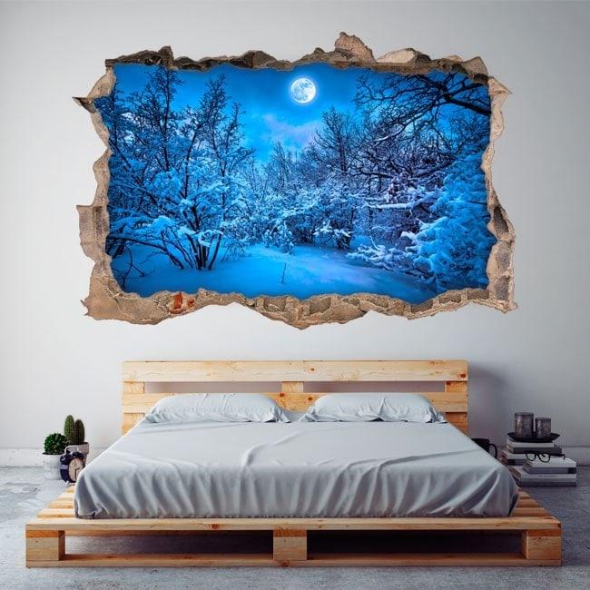3D in vinile luna piena montagne nevose