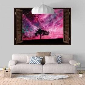 Vinile windows 3D albero cielo stellato