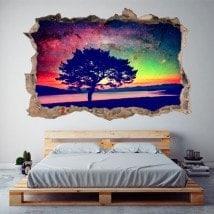Vinile 3D albero cielo stellato
