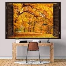 Windows in autunno gli alberi 3D in vinile