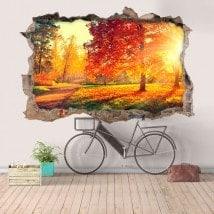 Natura di vinile foro muro degli alberi in 3D