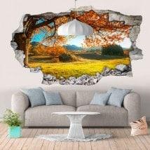 Vinile parete 3D rotante alberi prato