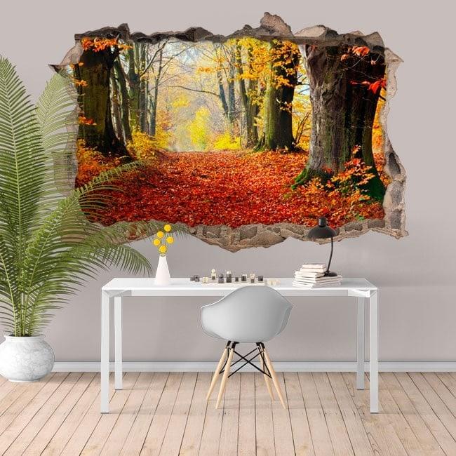 Natura di alberi di vinile 3D foro parete