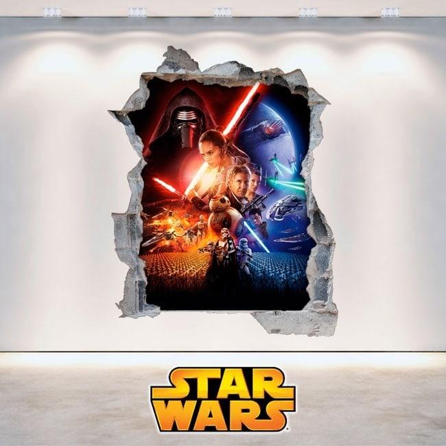 Muro di Star Wars di vinile rotto 3D