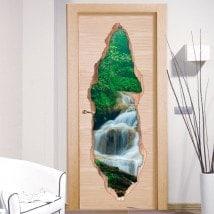 Porta la natura cascate adesivi 3D