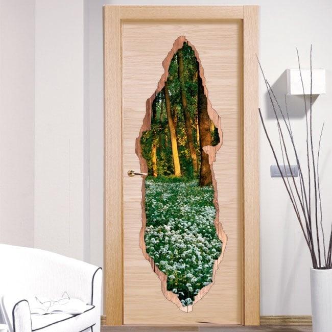 Vinili per fiori di porte in 3D della foresta