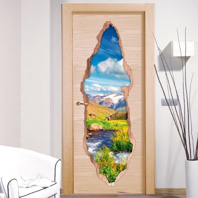Vinile per porte Brook nelle montagne 3D