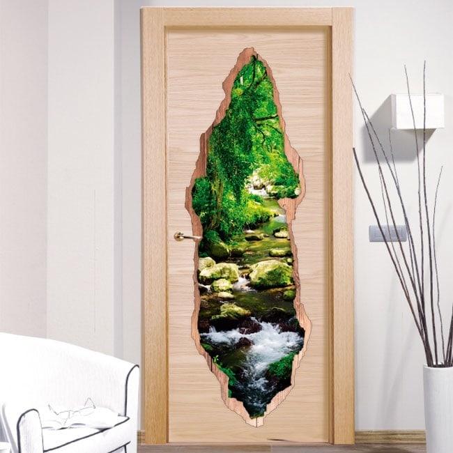 Vinile porte ruscello nella foresta 3D