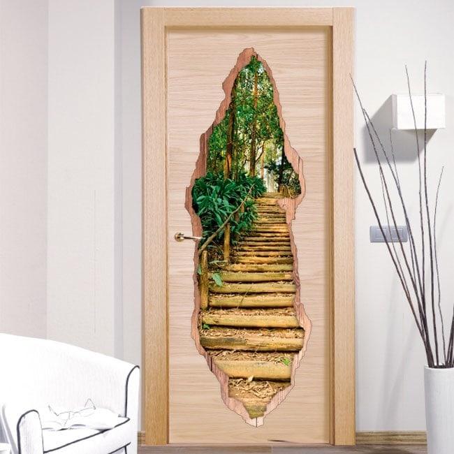 Vinili per la scala di porte nella foresta 3D