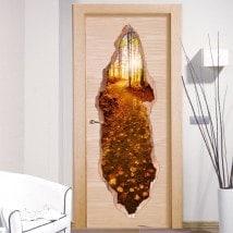 Vinili per montagna di porte tramonto 3D