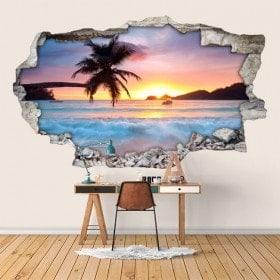 Vinyl tramonto 3D sulla spiaggia